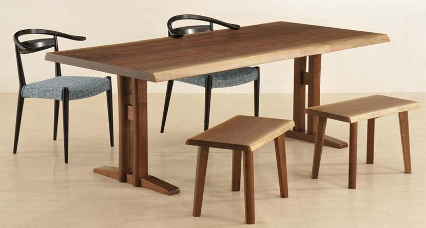 共木テーブルのクラフト二本脚